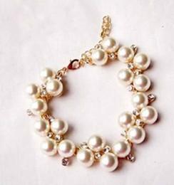 Золото серебро сияющий rhinestone pearl браслет #K0409
