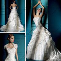 Cheap Hot 2014 New fashion design Strapless applique Pleats Satin Lace Chapel Train A Line Wedding Dress Demetrios DB4279 custom made Bridal Gown