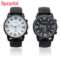Sport Men's Fashionable  5pcs lot Metallic Case Army Racing Silicone Soft Rubber Smart Men Boys Sports Watch 2Colors 18270