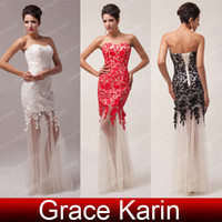 3 Colors Freeshipping Sexy Strapless Long Sheath Lace Evenin...