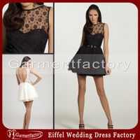 Wholesale Black Lace Cocktail Dresses Modern Scoop Neck Sheer Top A line Open Back Sparkly Diamond Short Prom Dresses