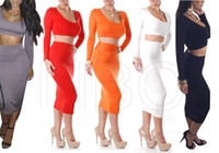 Cheap 2014 Hot Selling New Style Orange 2 Piece Bandage Bodycon Dress Celebrity Long Sleeve Dress Sexy Club dresses
