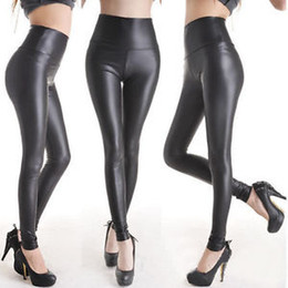Wholesale Details about HOT Sexy Ladies High Waist Stretch Faux Leather Look Tights Leggings Pants