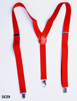 Wholesale Clip on Adjustable Unisex Red Braces Suspenders High quality Y Back Style Suspenders Colors Available DCE9
