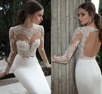 Cheap Sexy Illusion Jewel Neck Applique Backless 2014 Berta Bridal Long Sleeve Wedding Dresses Floor-Length Bridal Gowns open back Gowns ZA005