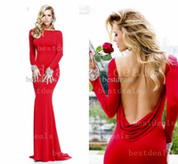 2014 Jersey red long sleeves mermaid Prom Dresses Backless R...