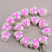 Wholesale 30pcs x13mm Silver Crystal pink Enamel Ribbon Breast Cancer Awareness Heart Charm Spacer Beads fit European Jewelry Findings