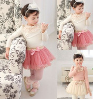 Wholesale EMS New Spring Ruffles Applique Long Sleeve Shirt Bow Pearl Beading Tutu Gauze Skirts Children Set Girls Dress Outfits B2789