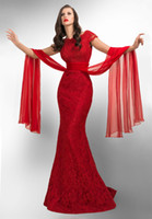 Wholesale 2014 New Arrival Evening Dresses Vintage Red Lace Mermaid Short Sleeves Sweep Train Backless Prom Gown