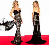 2014 Black lace Spaghetti Mermaid prom dresses Crystals sash...