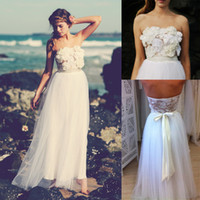 Cheap Hot Bohemian Strapless Flower Chiffon Bridal Gowns 2014 Boho Cheap Lace Wedding Dresses Ball Beach Sexy Long Summer Dress Simple See Through