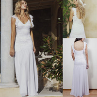 Cheap Designer Backless 2014 Beach Wedding Dresses Chiffon Destiation Gowns Boho Cheap With Lace Ball Sexy Long Train Summer Dress Simple Bling