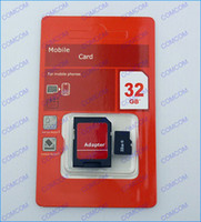 Wholesale 32GB Micro sd card Class tf memory card SDHC Cards with Adapter For smartphone and digital camera Red package DHL
