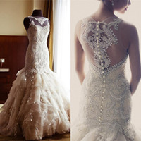 Wholesale Veluz new champagne tulle mermaid tiers wedding dresses sheer neck lace beaded pearls sheer back luxurious bridal wedding gowns hot