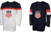 Ice Hockey Men Full Team USA Hockey Jersey Sochi Winter Olympic Hockey Jersey two colors Blue white 2014 Newest American Olympic Hockey Jersey Sochi Topsell