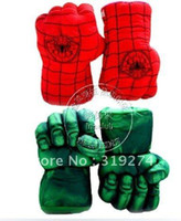 Wholesale Retail New Arrivals Cosplay Set of Incredible Green Hulk Spider man Smash Hands Plush Gloves