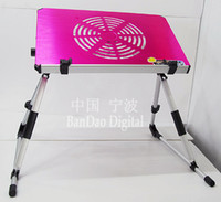 Cheap PC Portable Support Table Laptop Notebook Bed table Aluminum Folding USB Cable Stand Computer Desk Cooler With cooling Fan