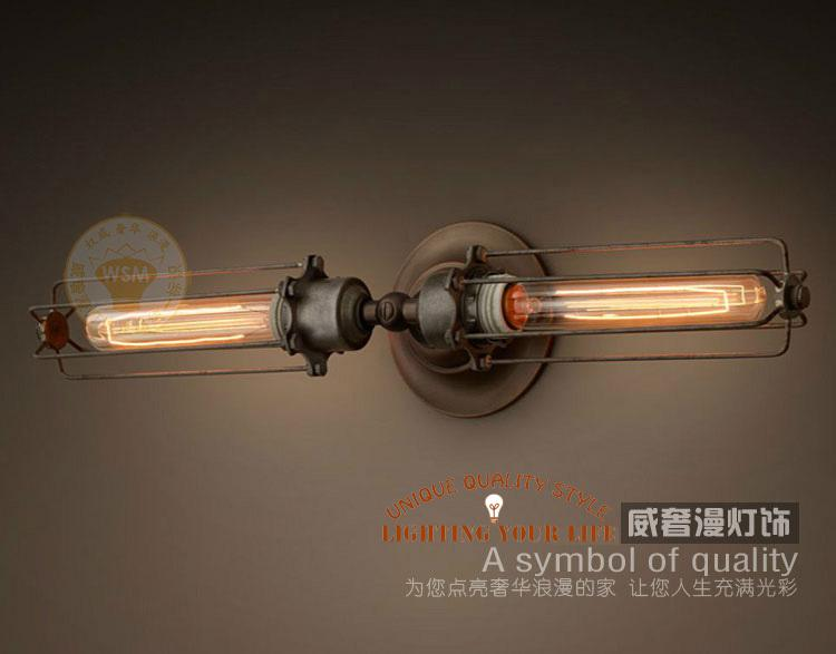 free shipping diy rustic edison wall lamp industrial sconce steampunk lighting dimmable lamp double elongated mirror cheap sconce lighting