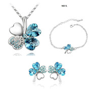Wholesale Big Sale White Gold Plated Crystal Rhinestone necklace earrings Fashion Jewelry Set Make With Swarovski Elements k103s