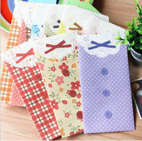 Cheap Free Shipping plaid polka dot flower button red bow gift envelope 10pcs lot 8.5x17.5cm