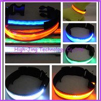 Wholesale Pet Dog Cat LED Glow Collar Nylon Electric Training Collars Products for Dogs waterproof lattice pet collar