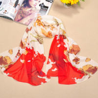 scarf material - 2015 New Lotus Printed Scarves For Women Fashion Elegant Lady s Sunscreen Scarf High Quanlity Chiffon Material