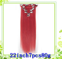 Wholesale PINK FUNKY COLOR full head remy clip in quality inch set g Clips in n remy Human Hair Extensions pc