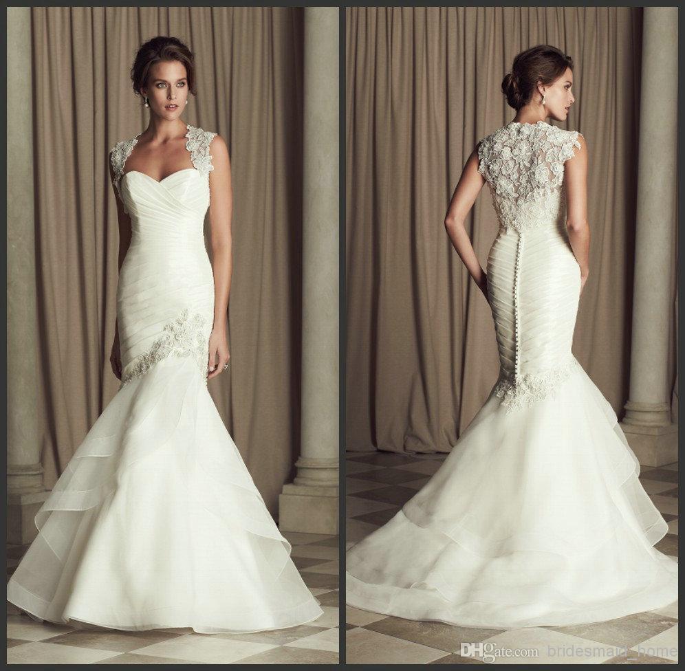2014 Ivory Mermaid Wedding Dresses Organza Sweetheart With