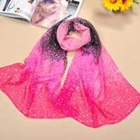 Wholesale Lady s Chiffon Scarf Starry Printed Mix Colors As Daily Beach Holiday