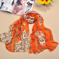 Wholesale The Newest Product Lady s Chiffon Scarf Leaf And Flower Design Sarongs Colors