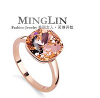 Wholesale Ming Lin genuine Austrian crystal simple square ring female Korean female jewelry rose gold influx of people
