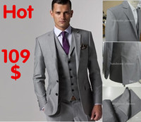 Wholesale Christmas Custom Made Slim Fit Groom Tuxedos Light Grey Side Slit Best man Suit Wedding Groomsman Men Suits Bridegroom