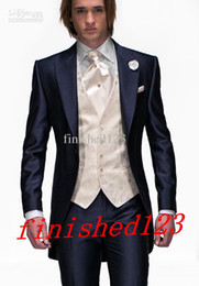Custom Made Slim Fit One Button Navy Blue Groom Tuxedos Peak Lapel Best Man Suit Groomsman Men Wedding Suits (Jacket+Pants+Tie+Vest) F:66