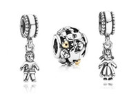 Silver Religious Silver Authentic 925 ALE Sterling Silver Family Boy and Girl Pendant Bead Set Fits European Pandora Jewelry Charm Bracelets- Sweet Home