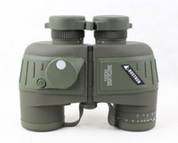 Wholesale 10X50 Binoculars Telescope Waterproof amp Night Vision Navy BINOCULARS With RANGEFINDER and Compass RETICLE illuminant