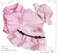 Cheap baby summer style 3-piece set - Girl hat+drees + coat Girls Baby Sets baby clothes