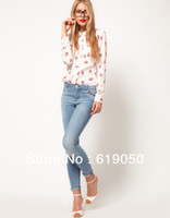 Cheap 1pc lot Free Shipping Beautiful Lip Print Chiffon Full Sleeve Women Shirt Turn-Down Collar Top 2013 New