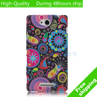 For Sony Ericsson Metal Yes High Quality Flowers Butterfly Pattern Case TPU Cover For Sony Xperia C S39h C2305 Free Shipping UPS DHL EMS HKPAM CPAM