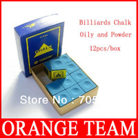 Wholesale 12Pcs Snooker Cues Exclusive Chalk Oily and powder Billiards Chalk Billiard chocolate powder