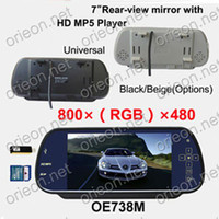 "Monitor All TV Free shipping 1pc lot New 7"" TFT-LCD Rear View Mirror Car Monitor with USB SD Slot,MP5 Player (OE738M)"