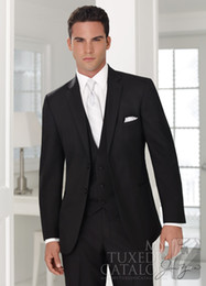 Wholesale The new groom dress suit Men s Black Peak lapel groomsmen wedding dress prom forms Groom Jacket pants tie vest handkerchief