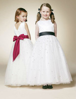 Cheap 2014 Satin Ribbon Sleeveless A-line Fashion Modern Cheap Custome Made China Flower Girls Dresses