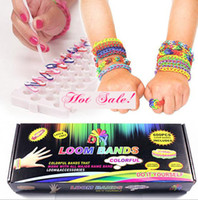 Cheap 2014 Hot Popular Rainbow Kits Rubber Loom Bands Kit DIY Bracelets Colorful Children Toy Gift Free Shipping