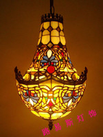 Wholesale American Crystal Chandeliers stained glass lamps antique retro cafe bar decorated stairs