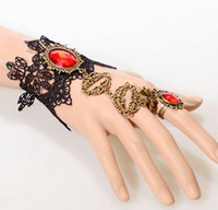 Wholesale New Fashion Bracelets Ring Set Black Lace Handmade Gothic Style Long Tassel Ruby Bracelet Ring one piece