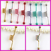 Wholesale Navel Piercing Surgical Steel Industrial Barbell Multicolor Ear Plug Body Piercing Jewelry