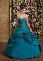 New Style A- line Strapless Taffeta Applique Custom- made Quin...