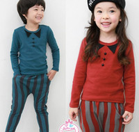 collar bars - Baby Boys Girls Outfits Round Collar Tops Column Bar Pants Sport Sets Kid Clothing Tracksuit Striped Printing Cotton Casual Suits C0916