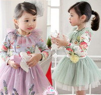 Wholesale 2014 Spring New Arrival Fancy Flowers Long Sleeve Tee Shirt Tutu Skirt Girls Dresses Outfits Kids Clothes Party Dress B2791