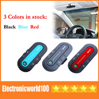 Wholesale Bluetooth Wireless Car Kit Speakerphone Can Connect two phones Handsfree with Car Charger black blue red High Quality